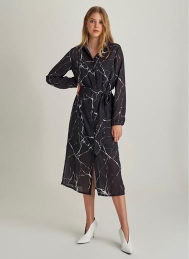 Ng Style Mermer Desenli Gömlek Elbise Siyah